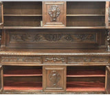 Antique Sideboard / Buffet Cabinet, Renaissance Revival Figural Carved, 1900's!! - Old Europe Antique Home Furnishings