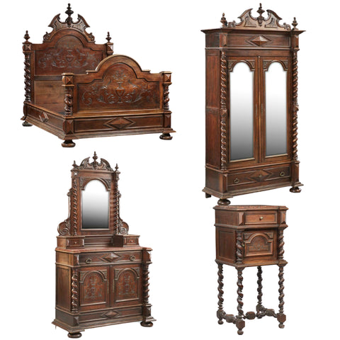Antique Bedroom Set, Four-Piece Set, French Henri II Style, 1800s, Gorgeous! - Old Europe Antique Home Furnishings