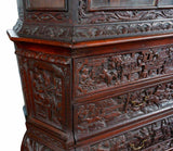Antique Bookcase, Ornate Highly Carved Wooden Bookcase W / Glass Doors, 1800's - Old Europe Antique Home Furnishings