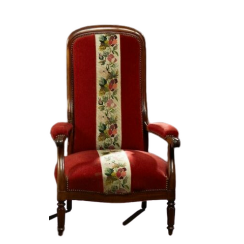 Antique Armchair, French Louis Philippe High Back Red Chair, 1800s, Gorgeous! - Old Europe Antique Home Furnishings