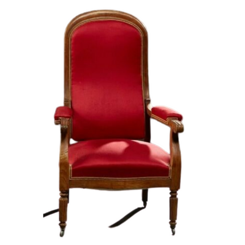 Antique Armchair, French Louis Philippe Red High BackFauteuil Chair 1800s, Gorgeous!! - Old Europe Antique Home Furnishings