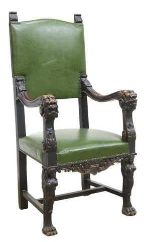 Antique Armchair, Throne, Green, Carved Walnut Italian Renaissance Revival! - Old Europe Antique Home Furnishings