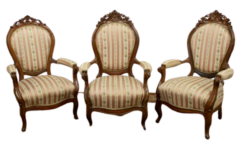 Antique Armchairs, Victorian, Parlor, 19th C., 1800s, Charming Set of Three!! - Old Europe Antique Home Furnishings