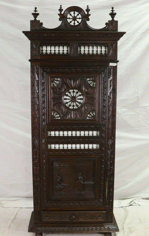 Antique Armoire Wardrobe, French Breton, Single Door Robe Armoire, Coat Closet!! - Old Europe Antique Home Furnishings