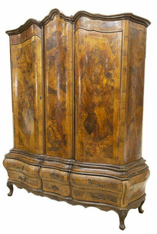 Antique Armoire, Italian Venetian Patchwork Figured Walnut Armoire, early 1900s - Old Europe Antique Home Furnishings