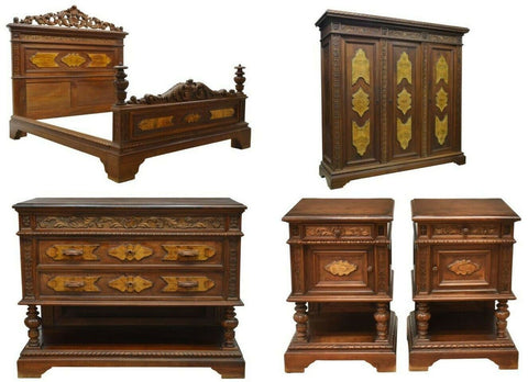Antique Bedroom Set, Italian, Carved Walnut Renaissance Revival, Set of 5, 1900s - Old Europe Antique Home Furnishings