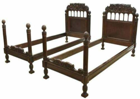 Antique Beds, Pair, Italian Renaissance Revival Carved, 1800's, Handsome!! - Old Europe Antique Home Furnishings