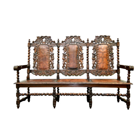 Antique Bench / Settle, European Style, Jacobean, Walnut, 1800s, Gorgeous! - Old Europe Antique Home Furnishings