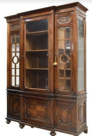 Antique Bookcase, French Glazed Breakfront Bookcase, early 1900s, Gorgeous! - Old Europe Antique Home Furnishings