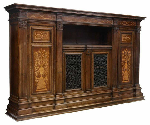 Antique Bookcase, Italian Renaissance Revival, Walnut Monumental Vintage, 1900's - Old Europe Antique Home Furnishings