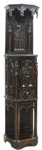 Antique Cabinet French Gothic Revival Figural, Heavily Carved, 1800s, 19th C.! - Old Europe Antique Home Furnishings