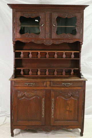 Antique Cabinet, Display, Louis XV Style Normandy Buffet Deux Corps, Handsome!! - Old Europe Antique Home Furnishings
