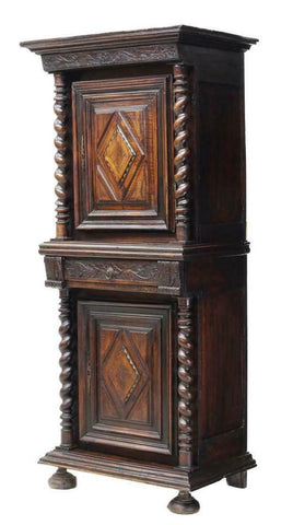 Antique Cabinet, French, 18th C., Twist Columns & Foliate Carved, 1700's!! - Old Europe Antique Home Furnishings
