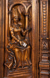 Antique Cabinet, French, Monumental, Renaissance Revival Carved Walnut, Gorgeous!! - Old Europe Antique Home Furnishings