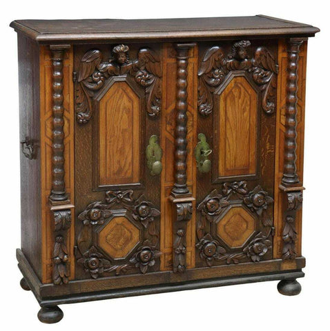 Antique Cabinet, Italian Baroque Style Walnut & Oak Cabinet, 19th C., Amazing! - Old Europe Antique Home Furnishings