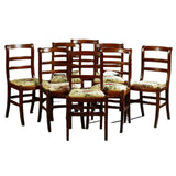 Antique Chairs, Dining Set of 8, French Louis Philippe Style Carved Beech, 1800s - Old Europe Antique Home Furnishings