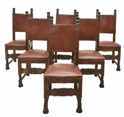 Antique Chairs, Dining, Italian Renaissance Revival Walnut, Early 20th C., 1900s - Old Europe Antique Home Furnishings