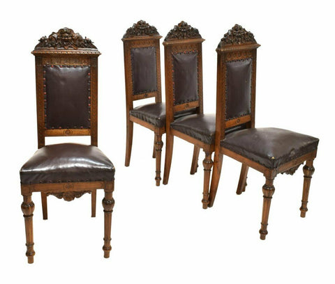 Antique Chairs, Dining, Side Italian Renaissance Revival, Carved Set of Four, Handsome!! - Old Europe Antique Home Furnishings