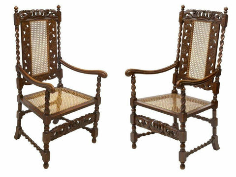 Antique Chairs, English Barley Twist Figural Carved Oak, Caned Seat, Set of Two! - Old Europe Antique Home Furnishings
