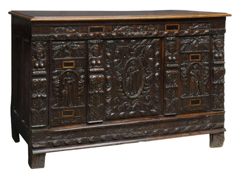 Antique Chest / Cabinet French Renaissance Revival Carved Oak, 1800s, Gorgeous! - Old Europe Antique Home Furnishings