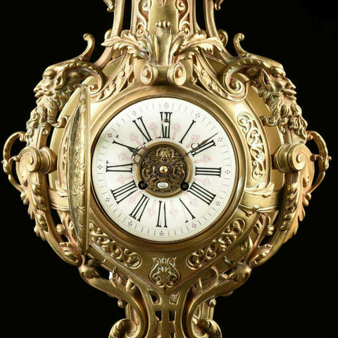 Antique Clock, Wall, Bronze Cartel Clock, A Renaissance Revival, By LE Febrve!! - Old Europe Antique Home Furnishings