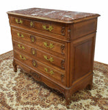 Antique Commode, French Louis XV Style Marble-Top Walnut, Gilt Metal, 1800's!! - Old Europe Antique Home Furnishings