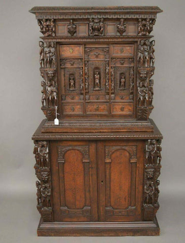 Antique Cupboard, Cabinet, Heavily Carved Continental Court, 17-18th C., Gorgeous!! - Old Europe Antique Home Furnishings