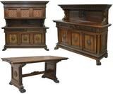 Antique Dining Set, Sideboards, Table, Renaissance Revival Carved Walnut, Gorgeous Set!! - Old Europe Antique Home Furnishings
