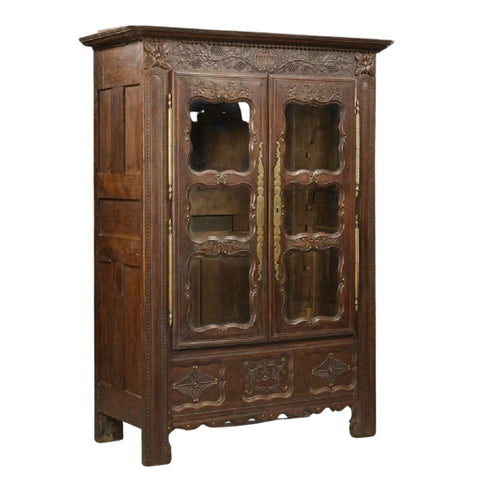Antique Armoire or Bookcase, French Henri II Style Carved Oak,19th C., 1800's! - Old Europe Antique Home Furnishings