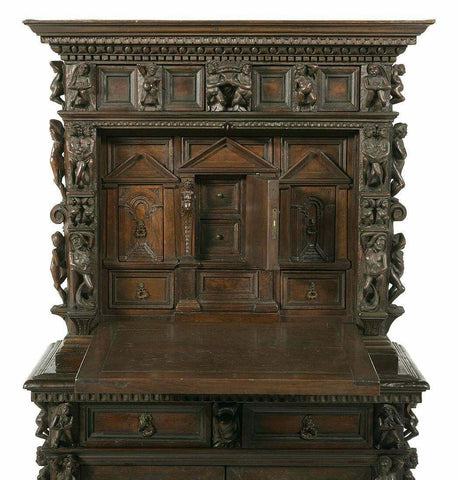 Antique Figural Cabinet, Italian Renaissance-Style Highly Carved Desk-on-Case, Gorgeous! - Old Europe Antique Home Furnishings