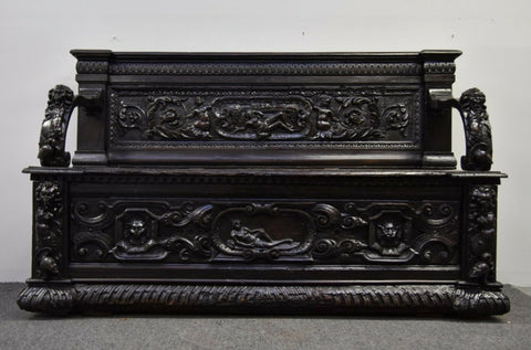 Antique Hall Bench / Settee, Early Italian Walnut, 1600s, Extensive Carvings!! - Old Europe Antique Home Furnishings