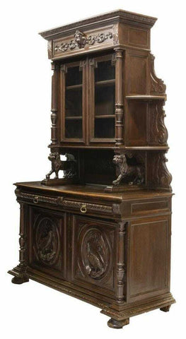 Antique Hunt Sideboard, French Well-Carved Oak Hunt with Game Birds, 1800's! - Old Europe Antique Home Furnishings
