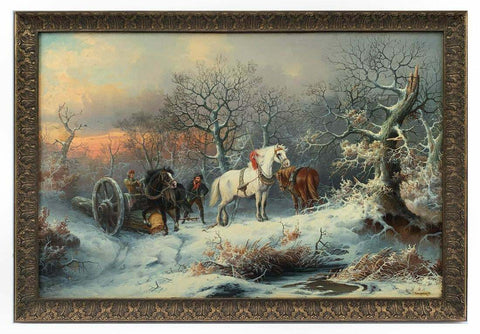 Antique Painting, Oil on Board, August Pettenkofen Winter Genre Logging w/ Work Horses! - Old Europe Antique Home Furnishings