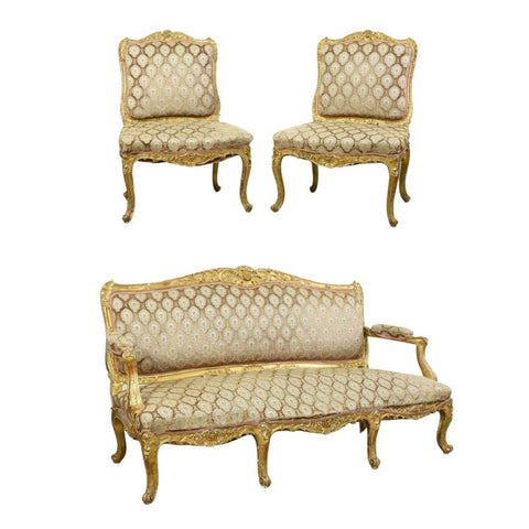 Antique Parlor Set / Suite, French Parcel Gilt Carved, Three Pieces, 1800's! - Old Europe Antique Home Furnishings