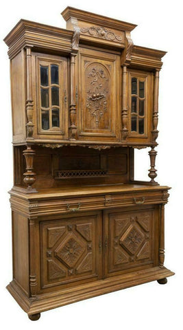 Antique Sideboard, French Henri II Style, Carved Walnut,1800's, Handsome! - Old Europe Antique Home Furnishings
