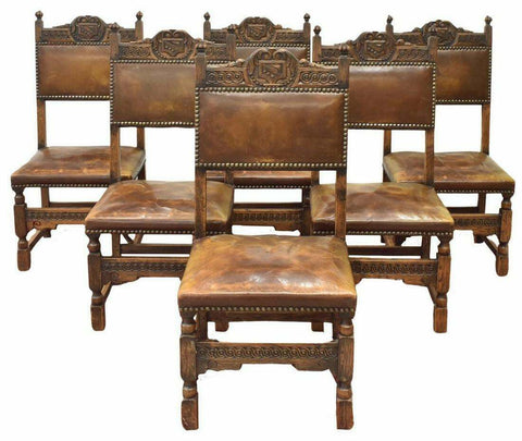Antique Side Chairs, Leather Upholstery, Renaissance Revival Carved Oak, 1800's, Handsome Set - Old Europe Antique Home Furnishings