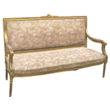 Antique Sofa, French Louis XVI Style Giltwood Upholstered, 1800s, Charming! - Old Europe Antique Home Furnishings