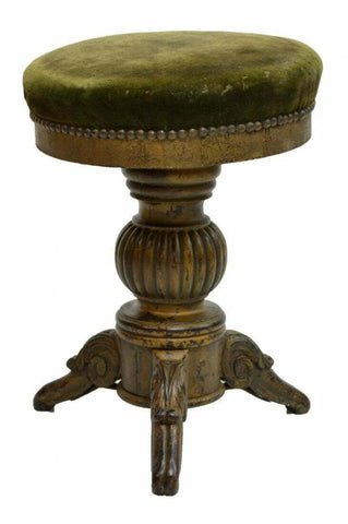 Antique Swivel Stool, Victorian Parcel Gilt Painted Piano or Vanity, 19th C.! - Old Europe Antique Home Furnishings