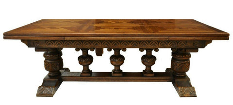 Antique Table, Dining, Large Carved Oak Draw-Leaf, Early 1900s, Handsome! - Old Europe Antique Home Furnishings