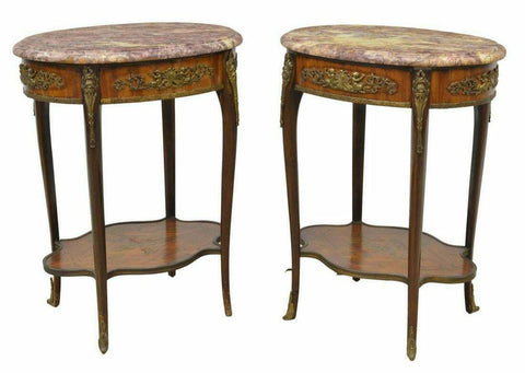 Antique Tables, Side, Mahogany, French Louis XV Style Marble-Top, Pair, Gorgeous!! - Old Europe Antique Home Furnishings