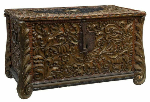 Antique Trunk, Chest, Heavily Carved Italian Polychrome Walnut, 18th / 19th C.! - Old Europe Antique Home Furnishings