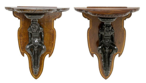 Lovely Antique Wall Brackets, Italian Figural Carved, 19th Century,1800s, Ebonized Finish! - Old Europe Antique Home Furnishings