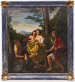 Antique Oil Painting,Continental School 18th C.Style Courting Scene, Large, Beautiful!! - Old Europe Antique Home Furnishings