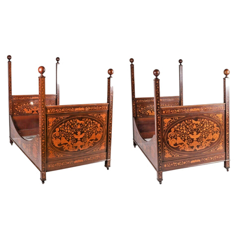 Antique Beds, Pair, Herts Bros Marquetry Inlaid Dutch Style Twin Size, 1800s! - Old Europe Antique Home Furnishings