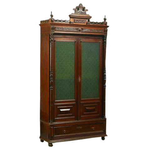 Antique Bookcase, French Provincial Carved Walnut Dark Wood Tones, Circa. 1870's - Old Europe Antique Home Furnishings