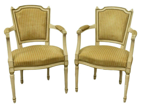 Armchairs, Fauteuils, French Louis XVI Style, Upholstered, Charming Pair!!! - Old Europe Antique Home Furnishings