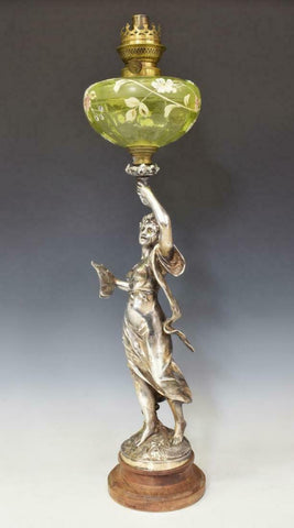 Oil Lamp, French Silver-Tone Metal Figural, 19th / 20th Century, Gorgeous!!! - Old Europe Antique Home Furnishings