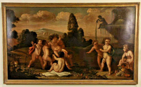 Antique Painting, Italian Putti Celebrating Bacchanalia, Monumental, 1700's, Handsome!! - Old Europe Antique Home Furnishings