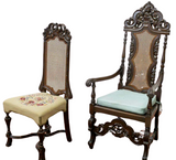 Antique Chairs, Cane, Desk, Baroque Style Carved 19th C., 1800s, Handsome Set!! - Old Europe Antique Home Furnishings