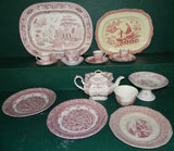 Transferware, Dishes, English Red, 17 Pieces, 19th Century ( 1800s )Beautiful!!!!! - Old Europe Antique Home Furnishings